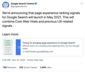 Google Page Experience Tweet - Core Web Vitals